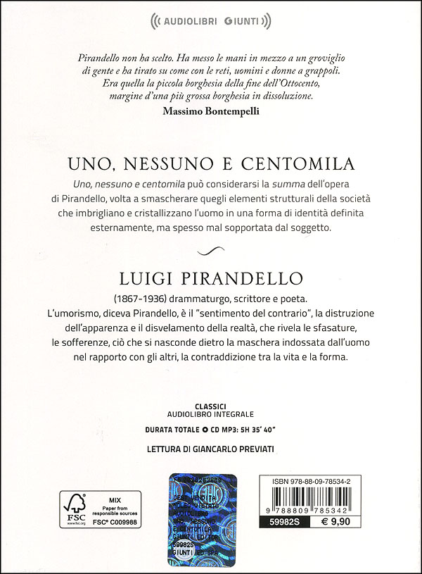 Uno, nessuno e centomila + CD audio mp3