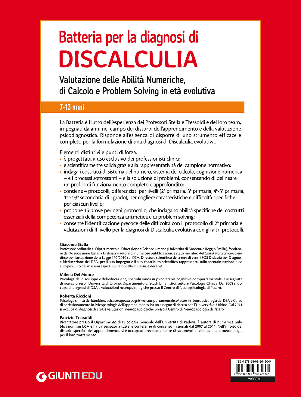 Batteria per la diagnosi di Discalculia - Kit 7-13 anni