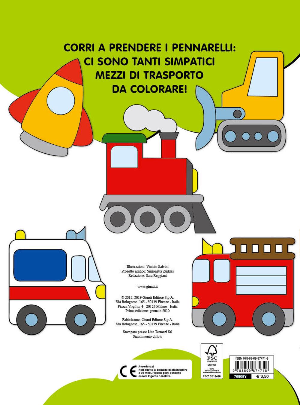 Colora e gioca con i mezzi di trasporto (con stickers)