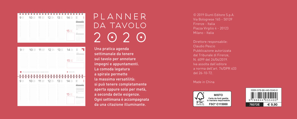 Calendario planner da tavolo 2020