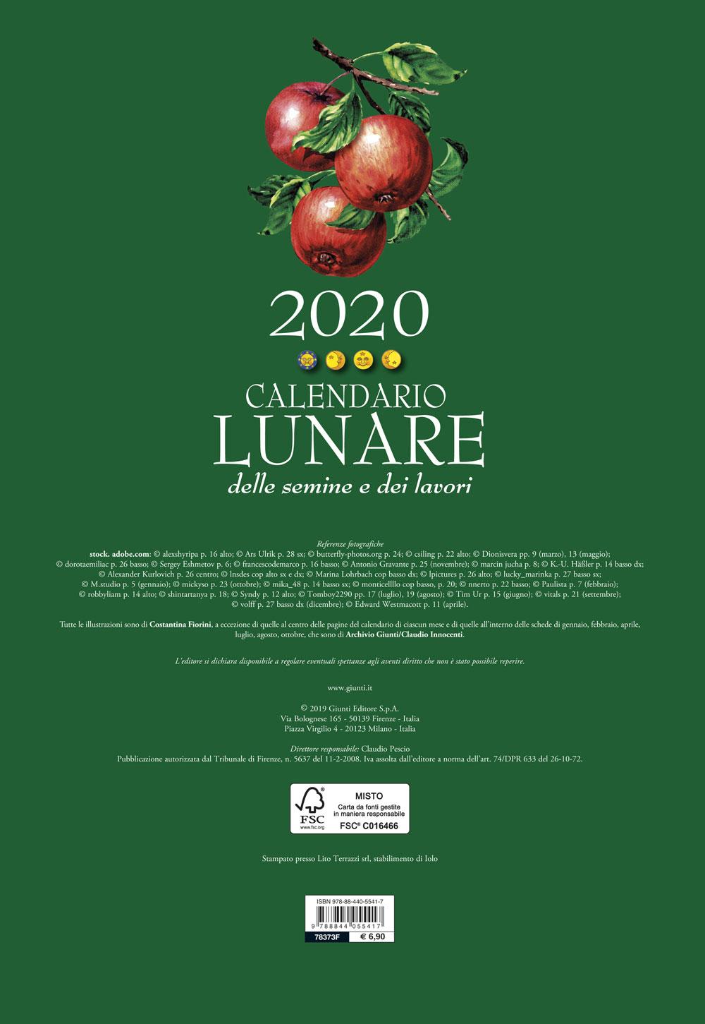 Calendario Lunare Per Imbottigliamento 2020.Calendario Lunare 2020 Giunti