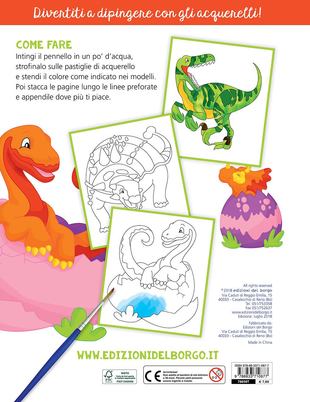 Colora con gli acquerelli - I dinosauri
