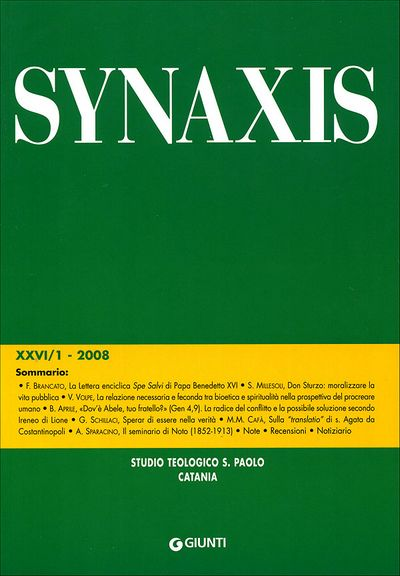 Quaderni di Synaxis XXVI/1 - 2008 - Quadrimestrale dello Studio Teologico S. Paolo di Catania