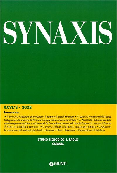 Quaderni di Synaxis XXVI/3 - 2008 - Quadrimestrale dello Studio Teologico S. Paolo di Catania