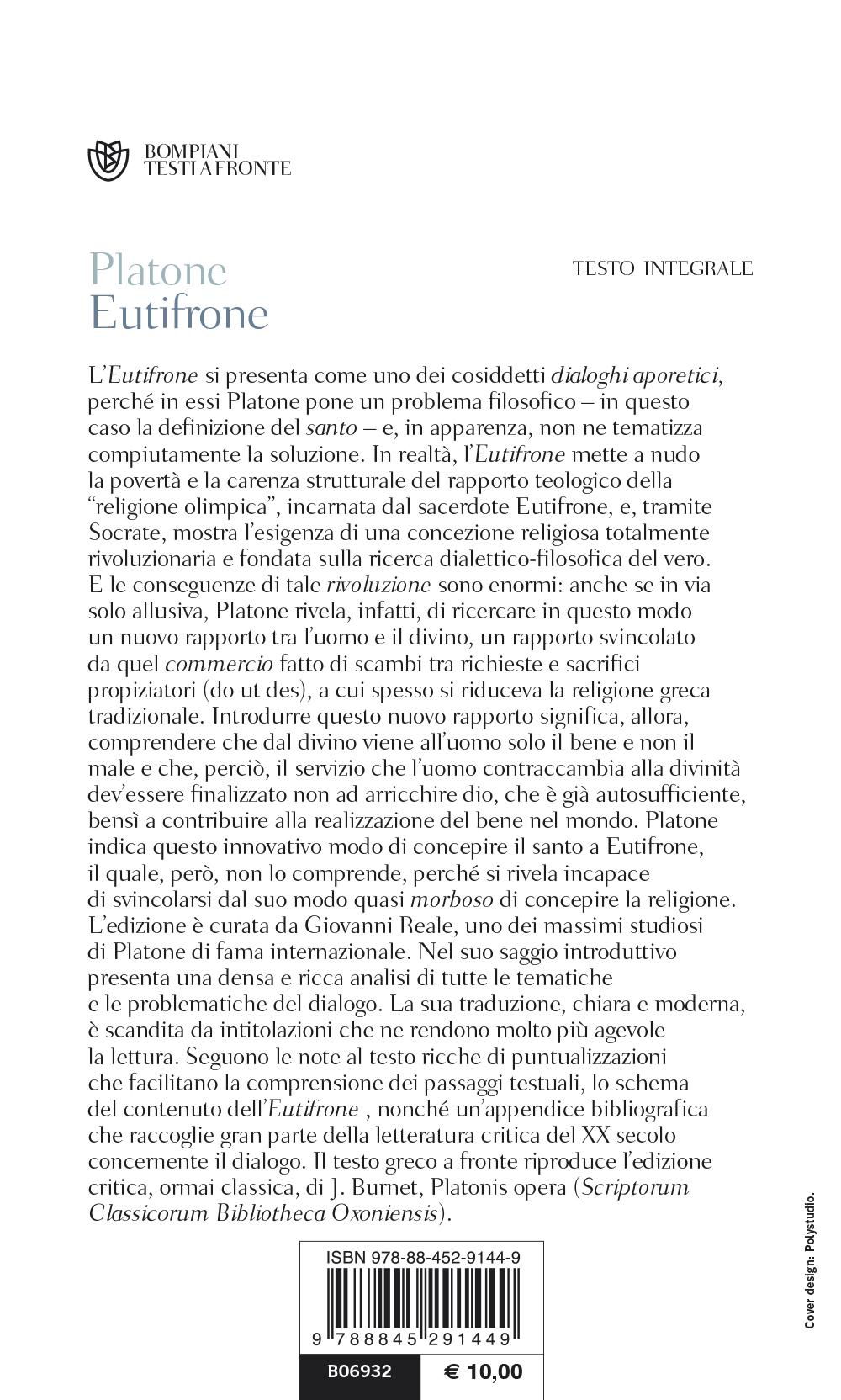 Eutifrone. Testo greco a fronte